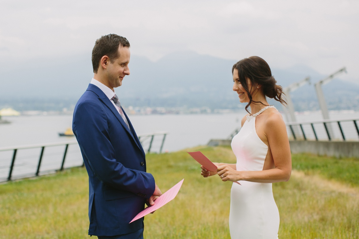 Vancouver bride and groom read private vows