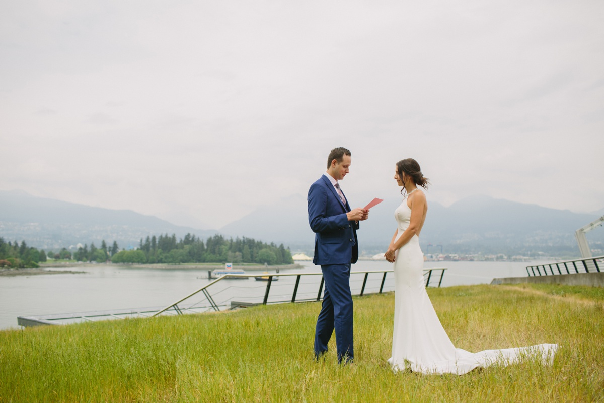Private vows overlooking Coal Harbour and Stanley Park