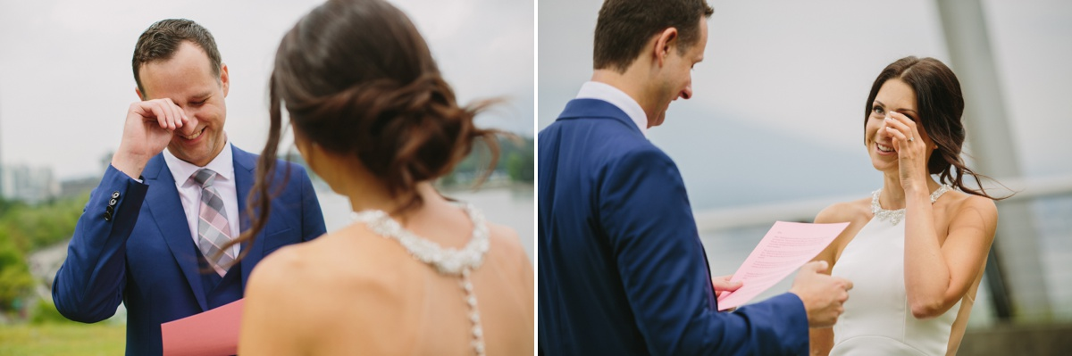 Vancouver bride and groom crying during private vows