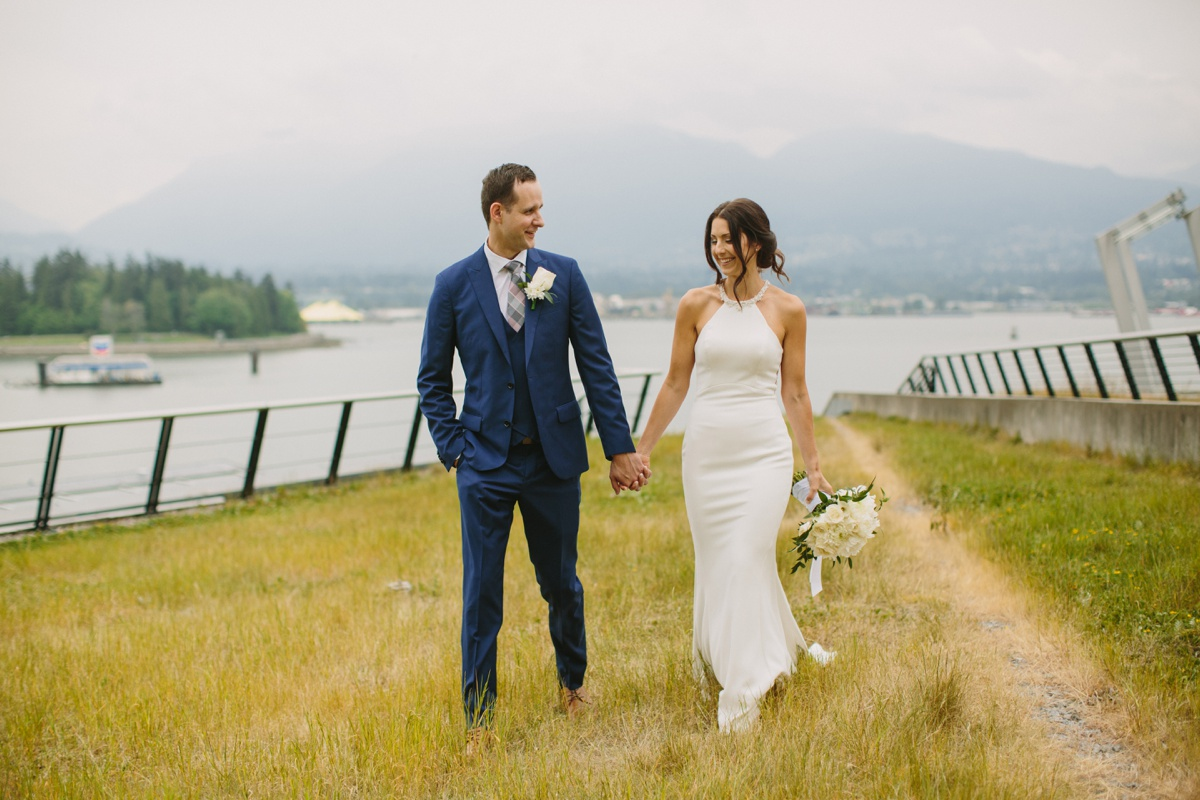 Bride and groom portrait at Vancouver Convention Centre
