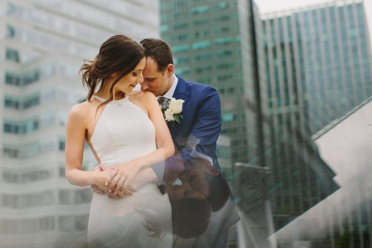 Vancouver bride and groom reflection portrait