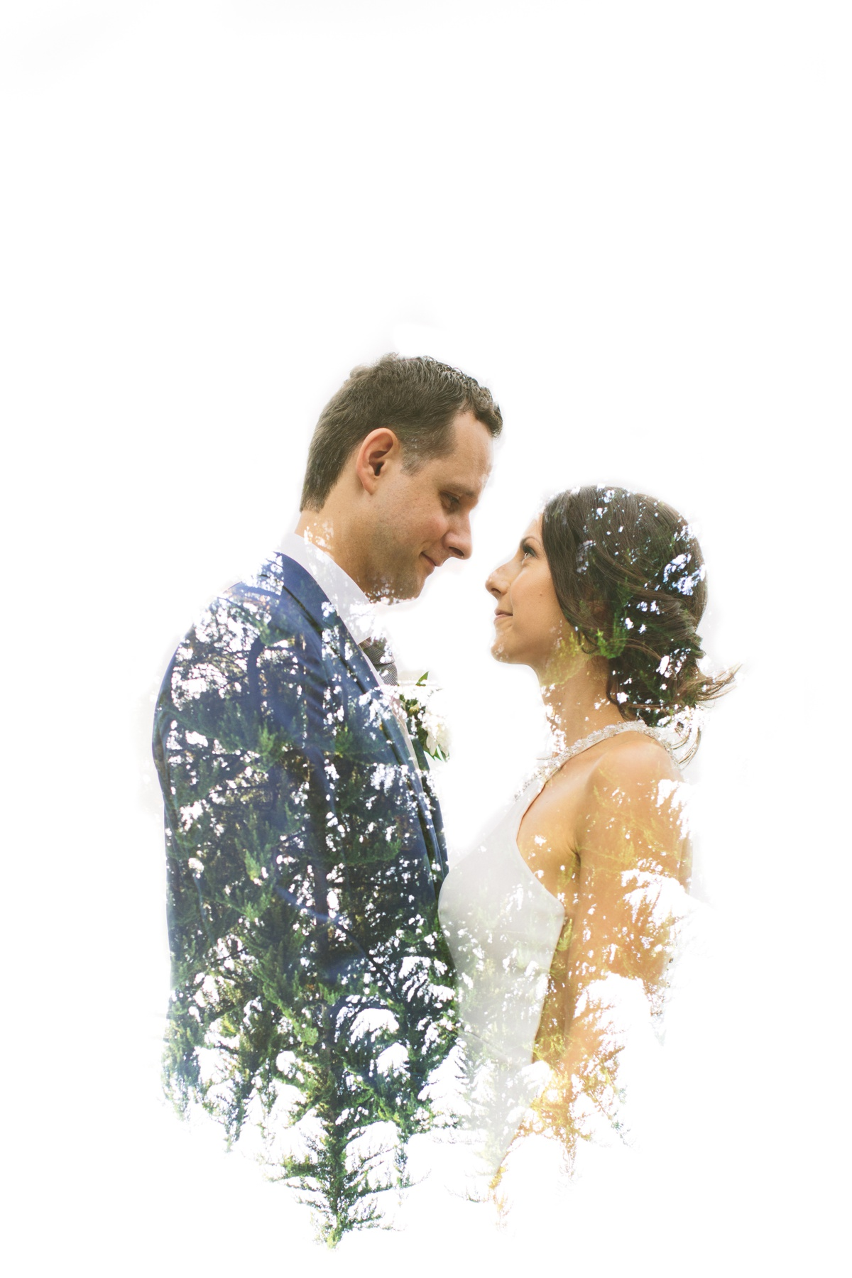 Vancouver bride and groom double exposure