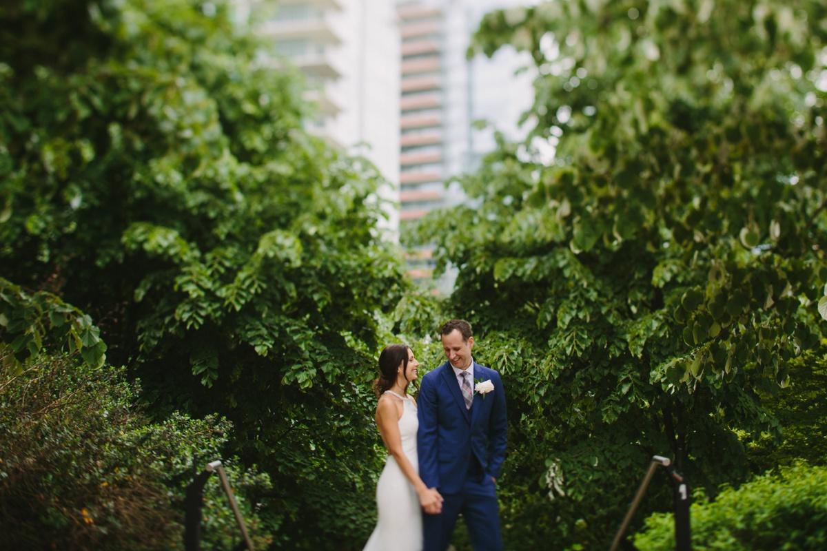 Tilt shift portrait of wedding couple in Coal Harbour