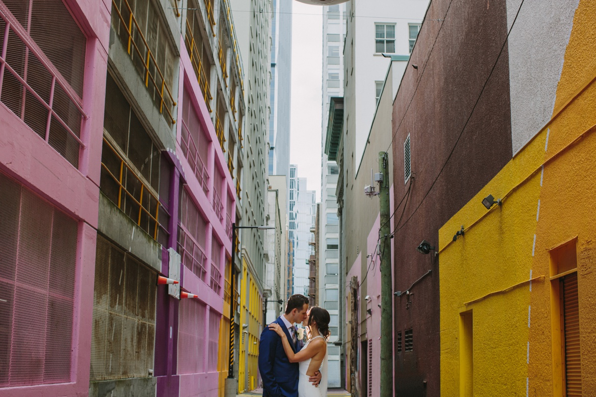 Wedding portraits in alley-oop in Vancouver