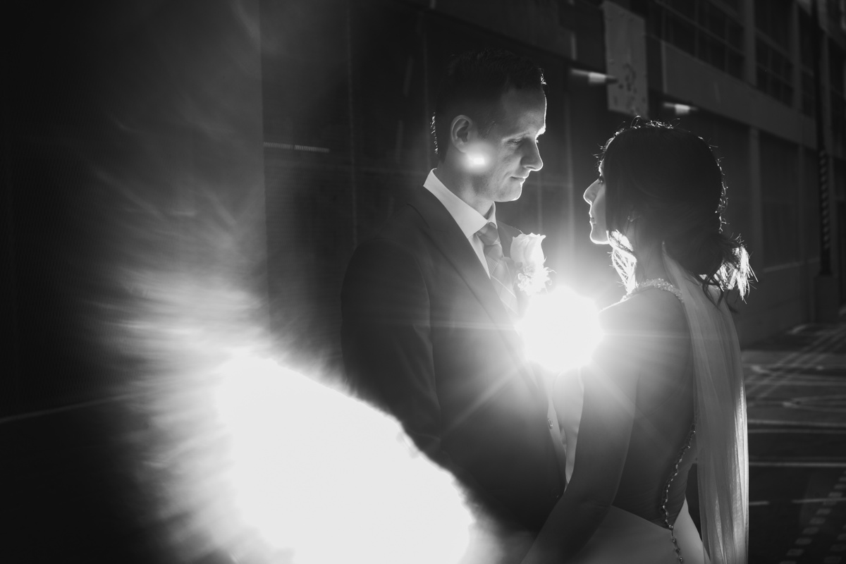 Bride and groom with flare