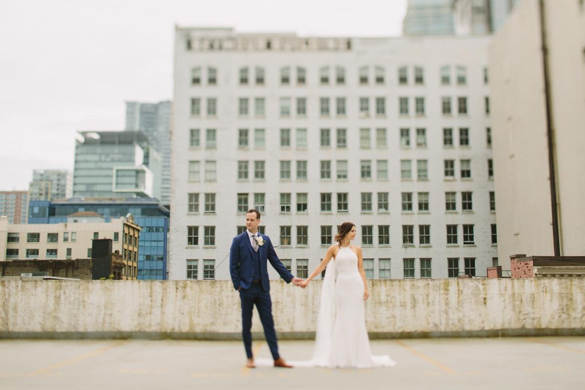 Tilt shift urband Vancouver bride and groom portrait