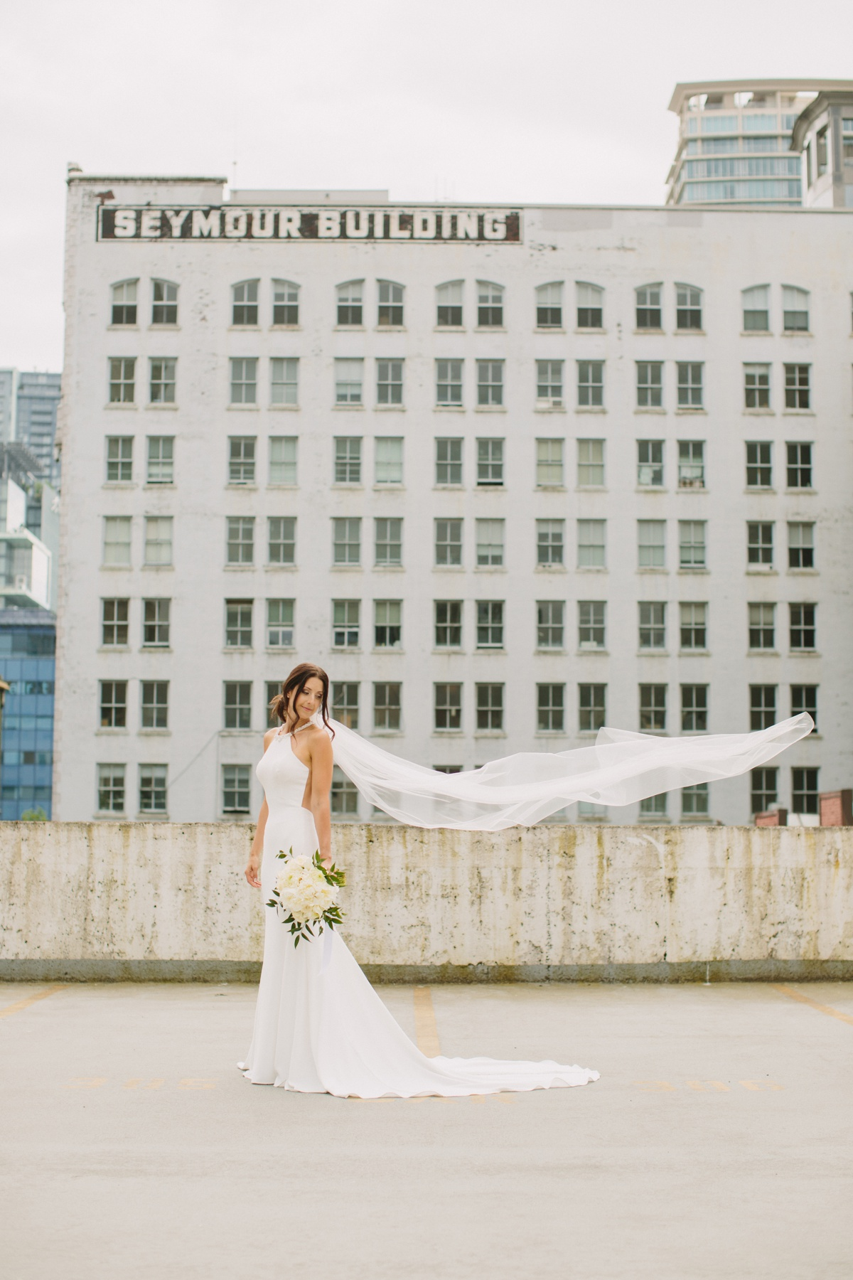 Vancouver bride with Seymour Building