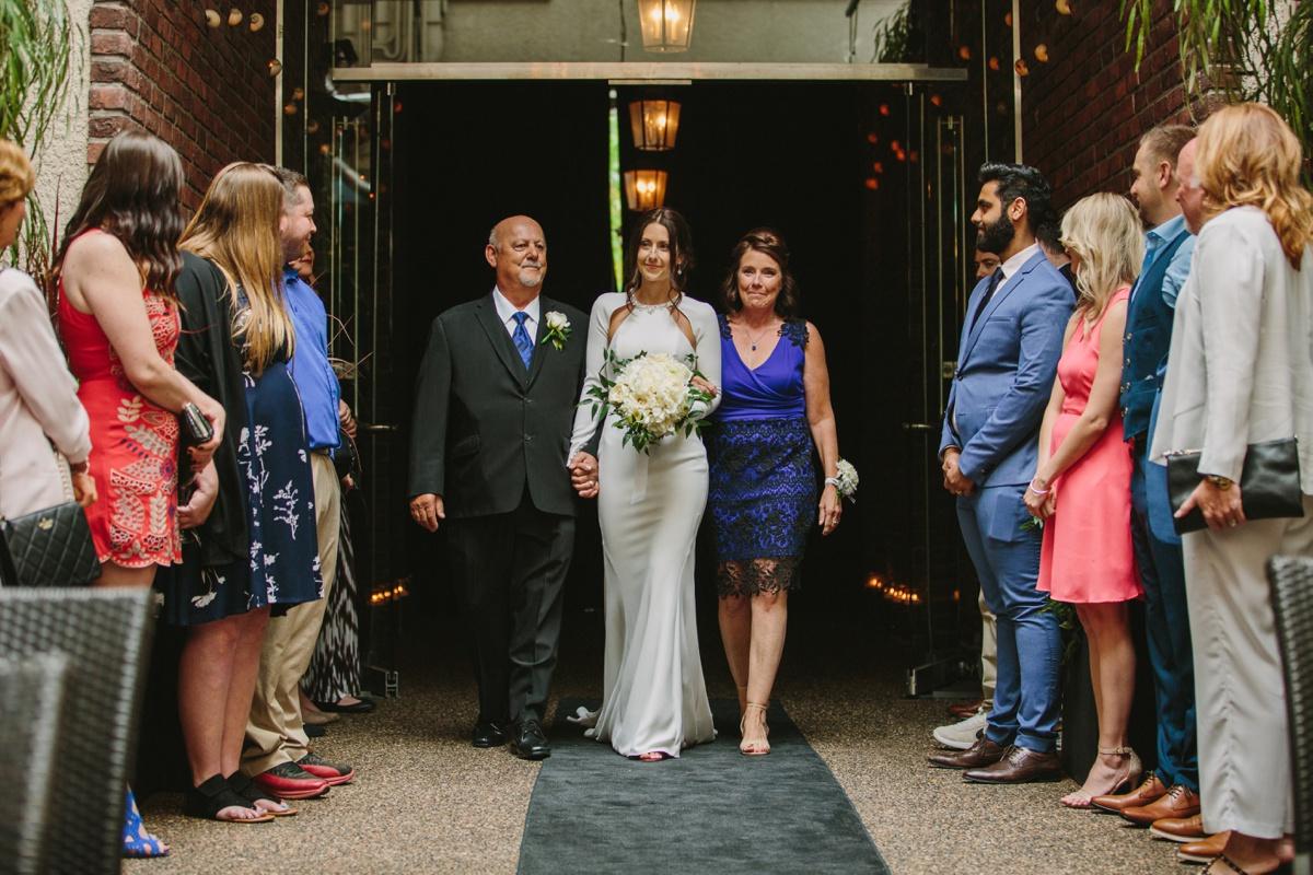 Bridal processional at Brix & Mortar