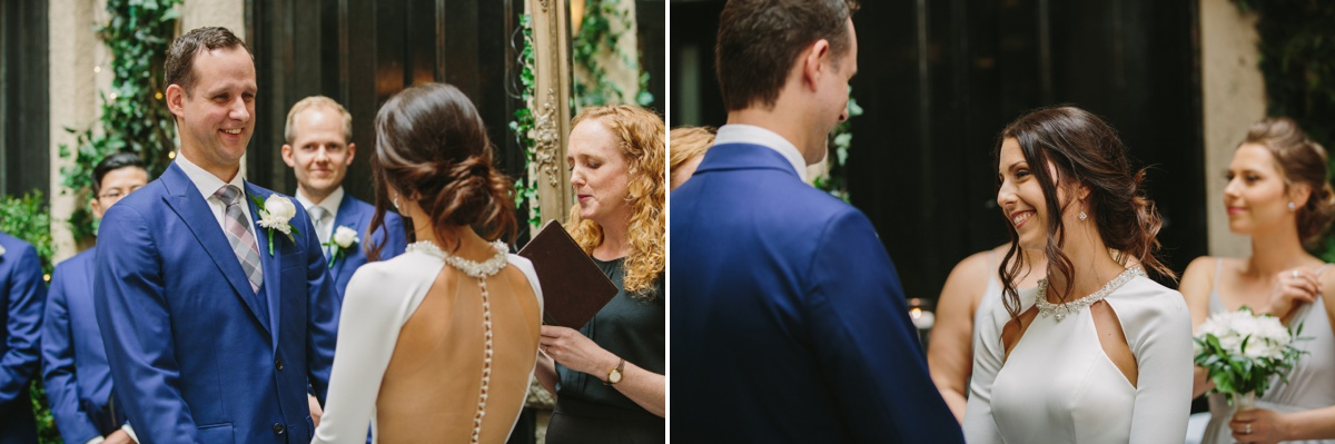 Bride and groom during ceremony at Brix & Mortar