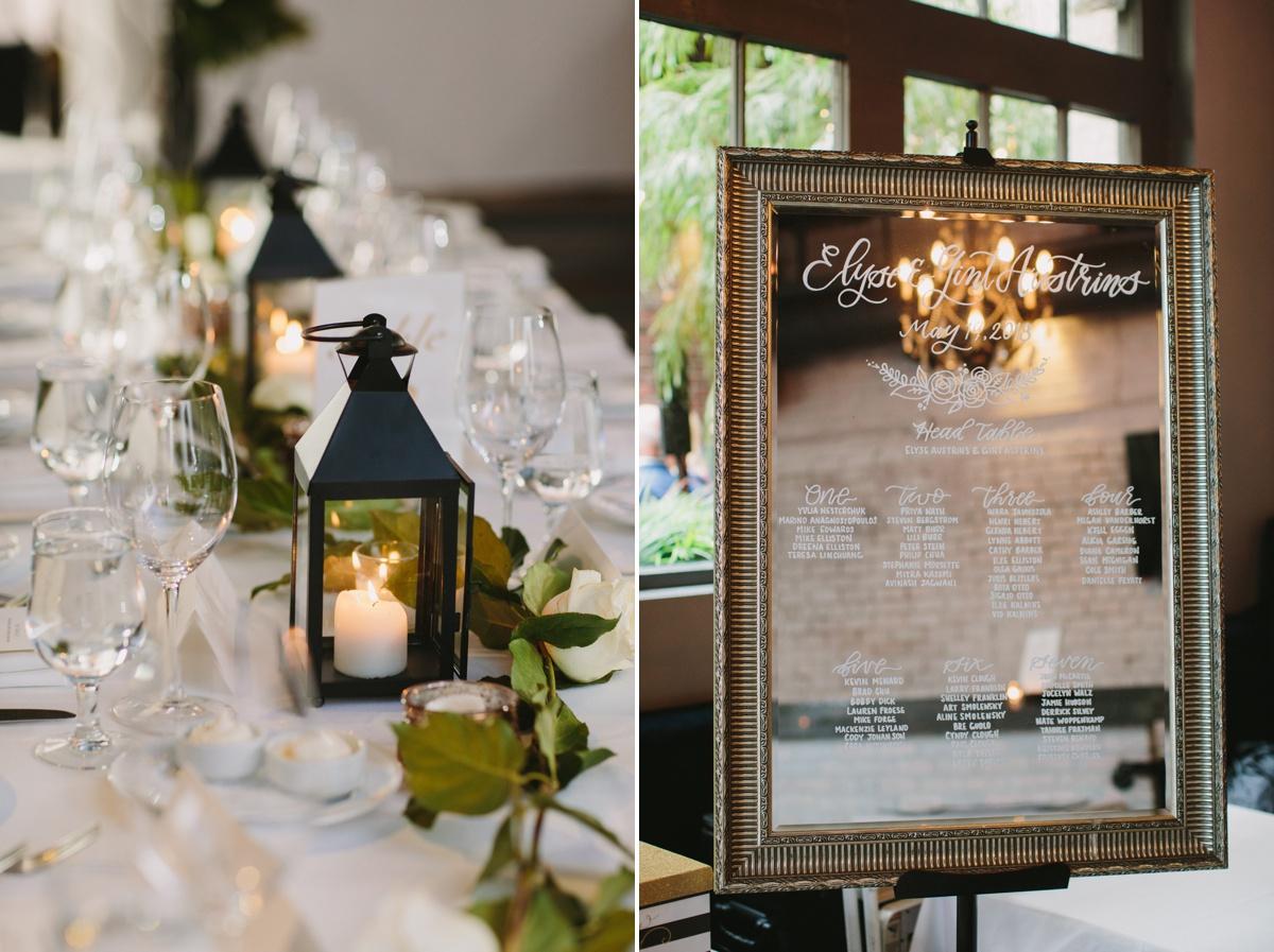 Wedding reception details at Brix & Mortar