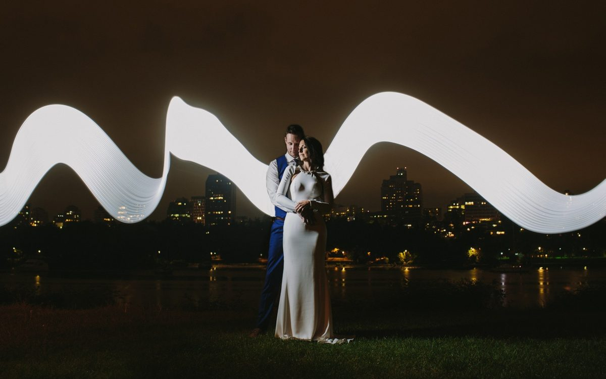Vancouver bride and groom night portrait in David Lam Park