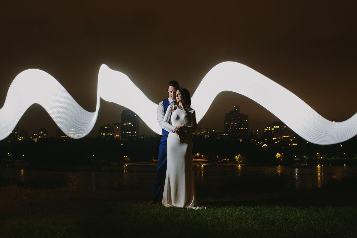 Vancouver bride and groom night portrait in David Lam Park