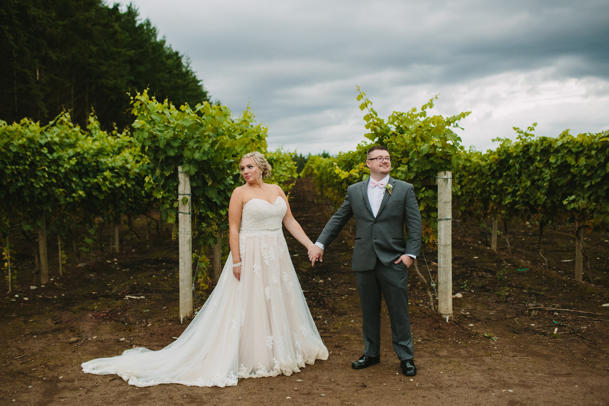 Bride and Groom Portraits in Langley Vineyard