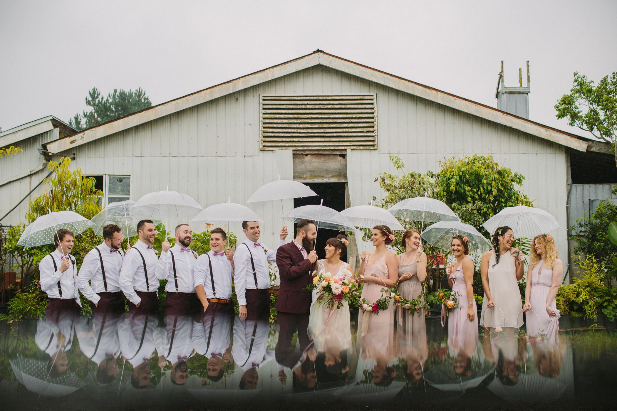 Wedding Party Portrait in Rain at Woodbridge Ponds