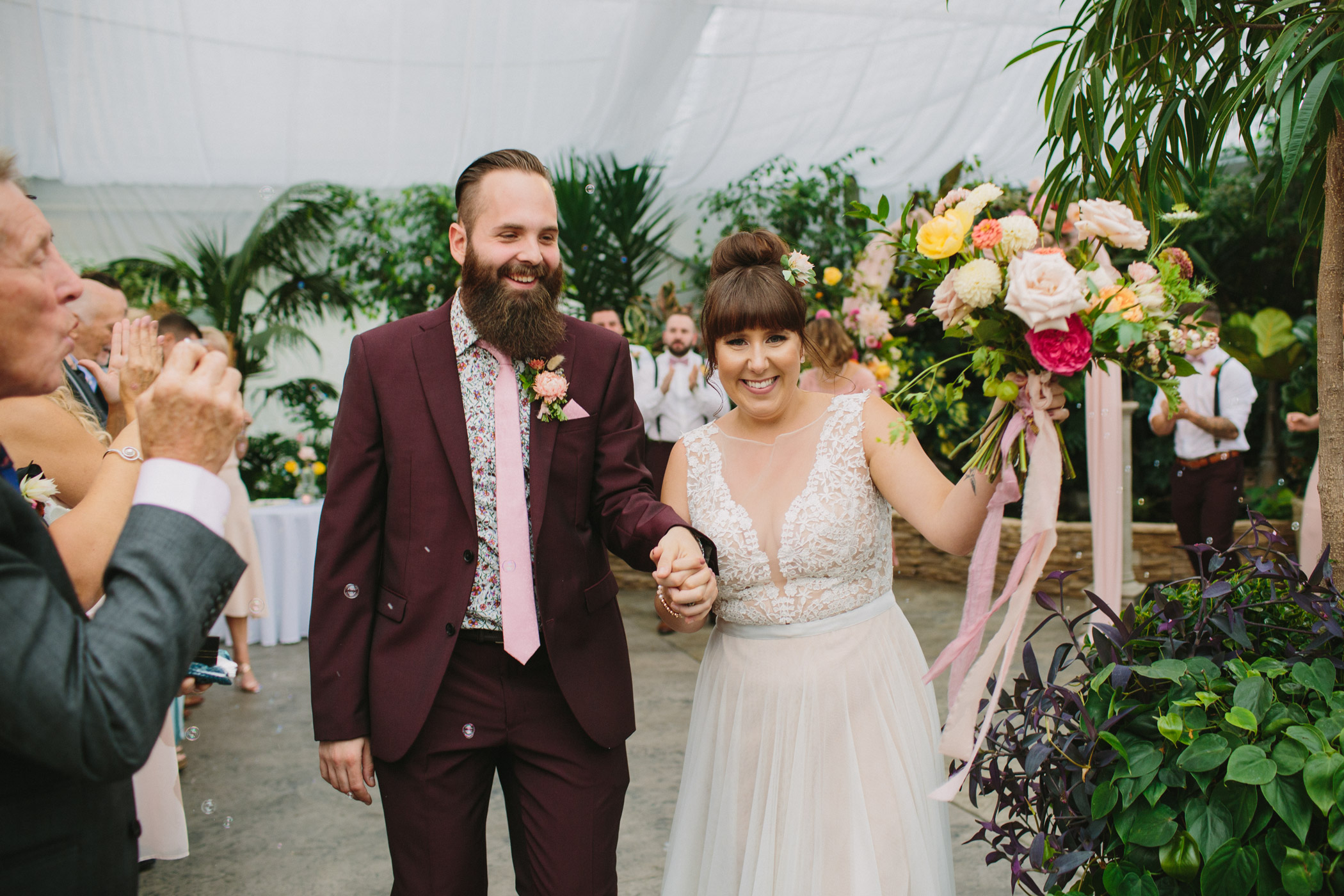 Bride and Groom Recessional at Secret Gardens