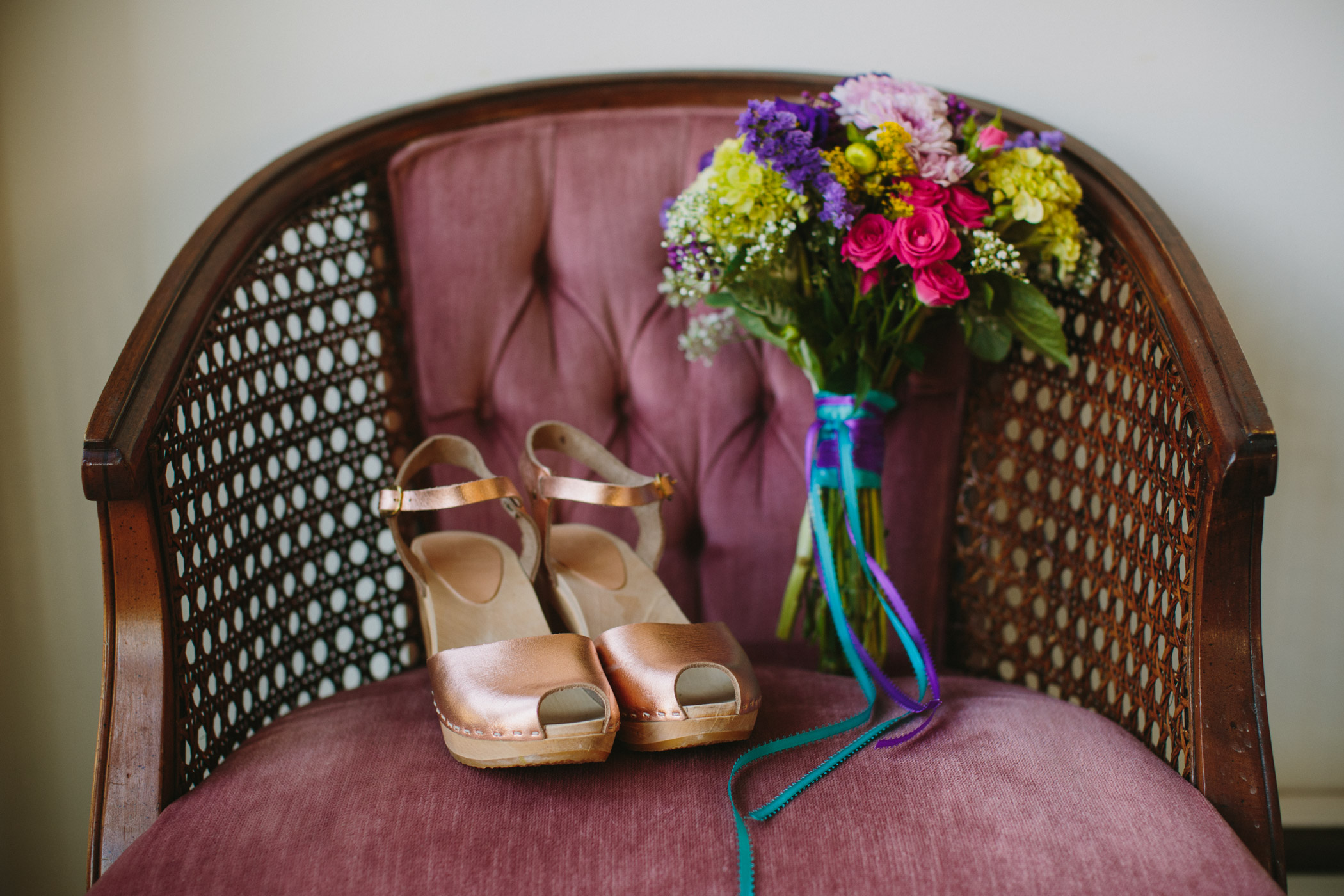 Vancouver Bride Custom Gold Leather Clogs