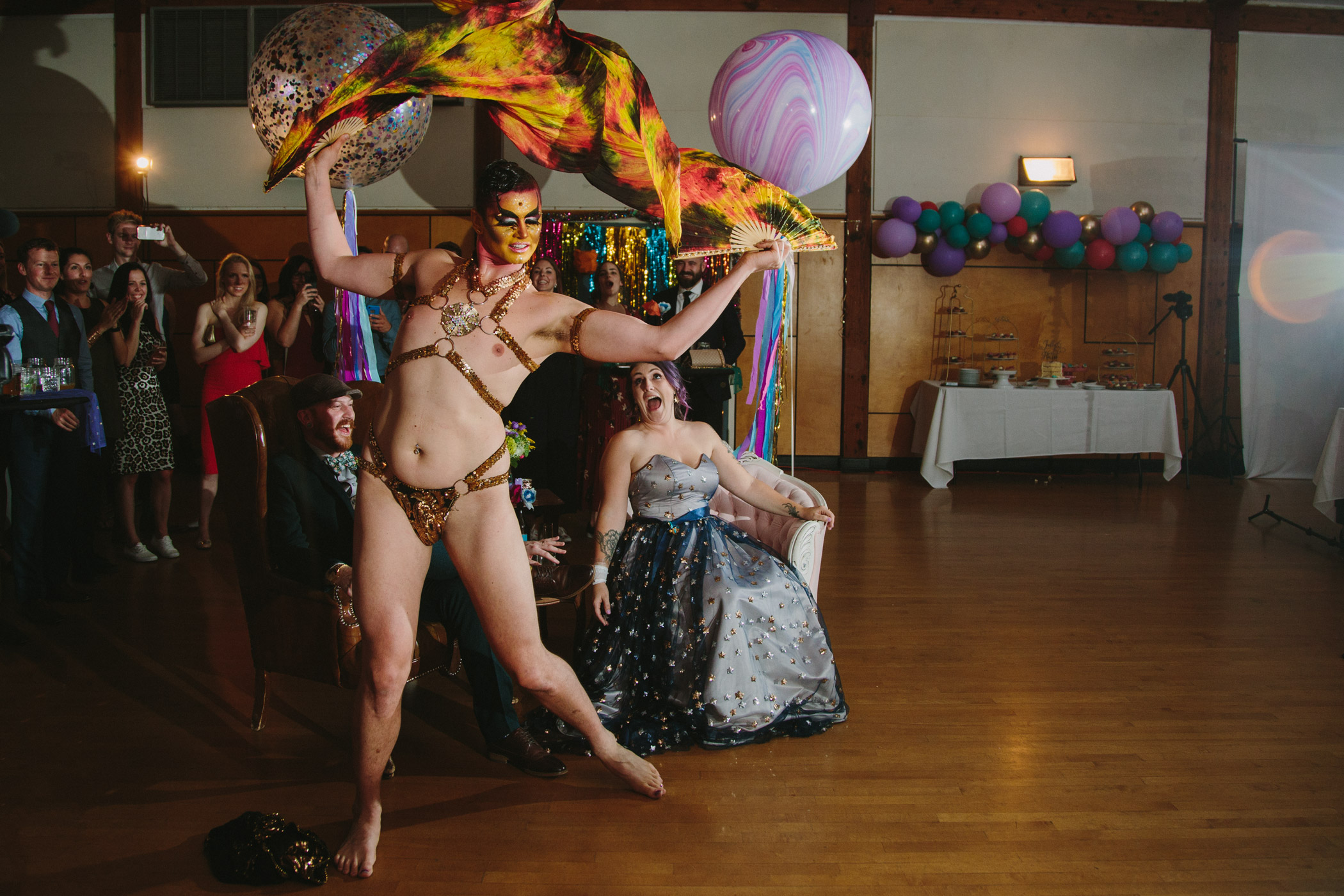 Johnny Nuriel Drag Burlesque Performance at Vancouver Wedding