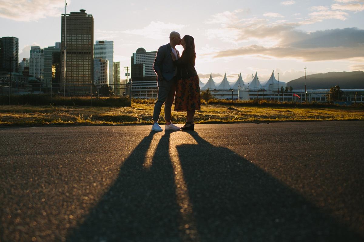 Sunset Engagement Portrait at Crab Park
