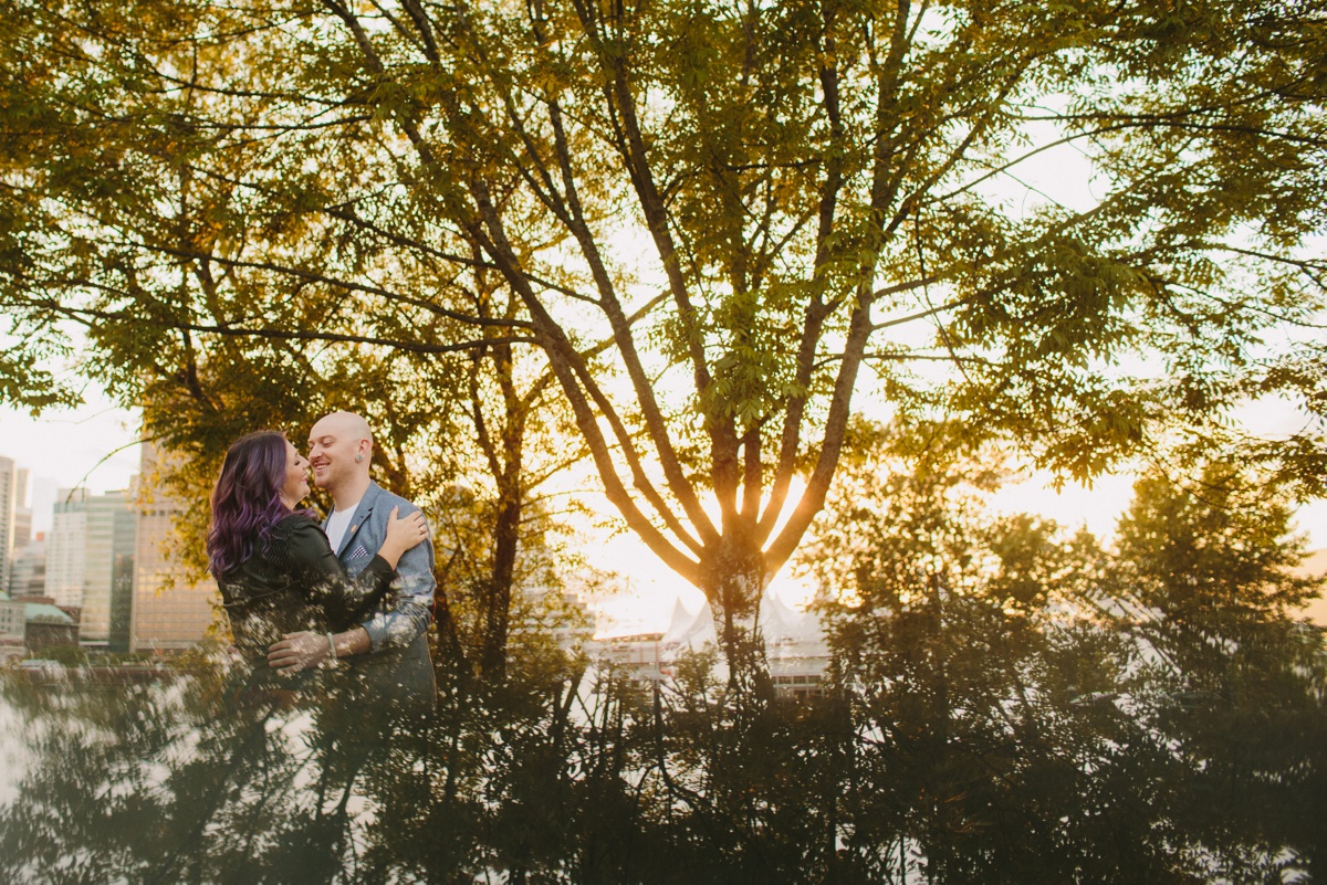 Engagement Session with Trees at Crab Park in Vancouver