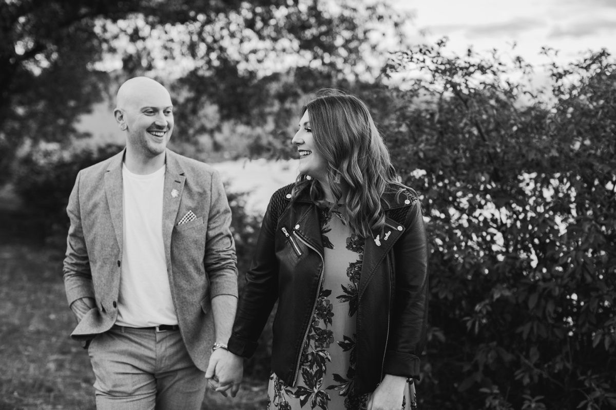 Black and White Engagement Portrait in Crab Park