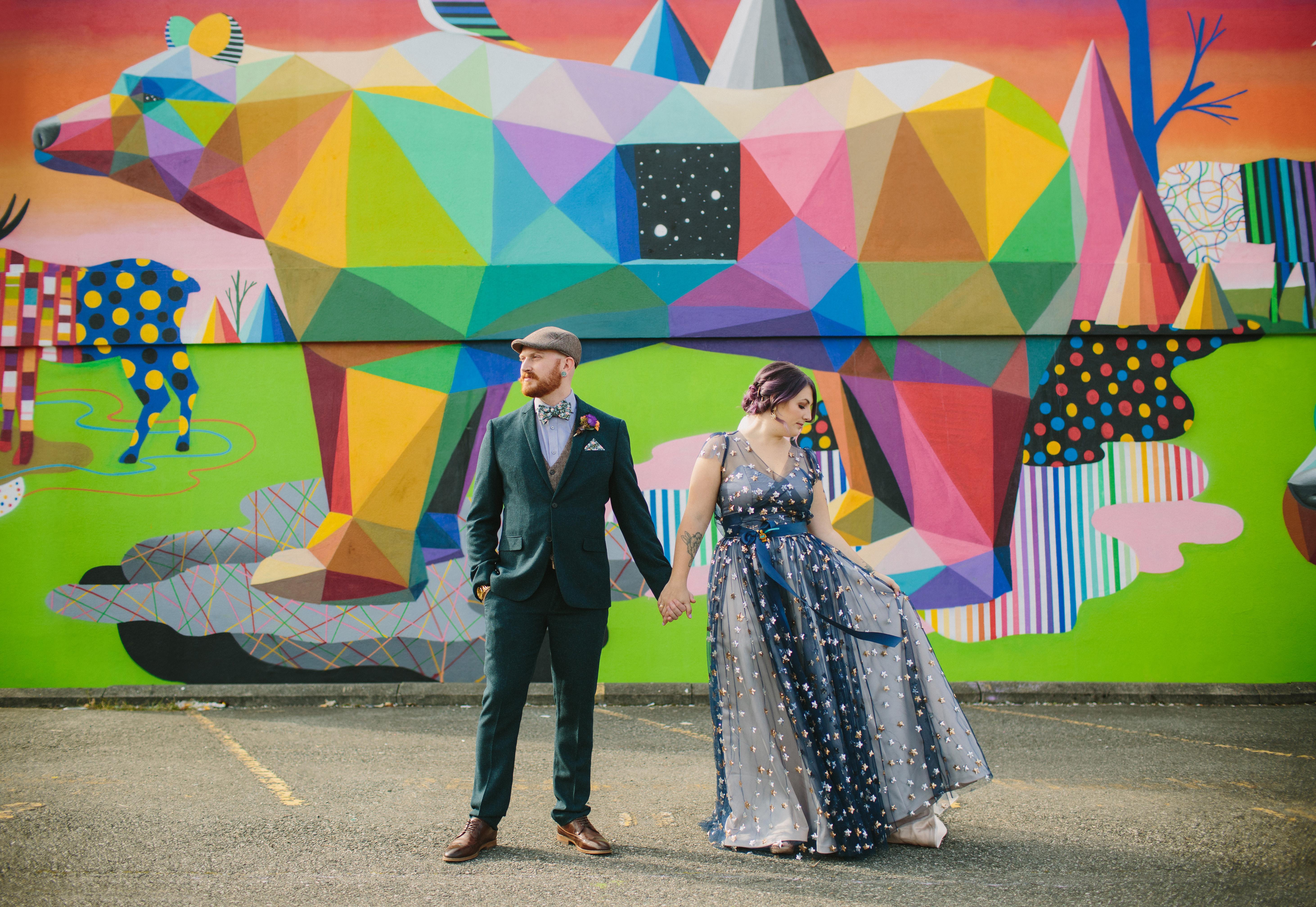Vancouver Mural Festival Wedding Portrait