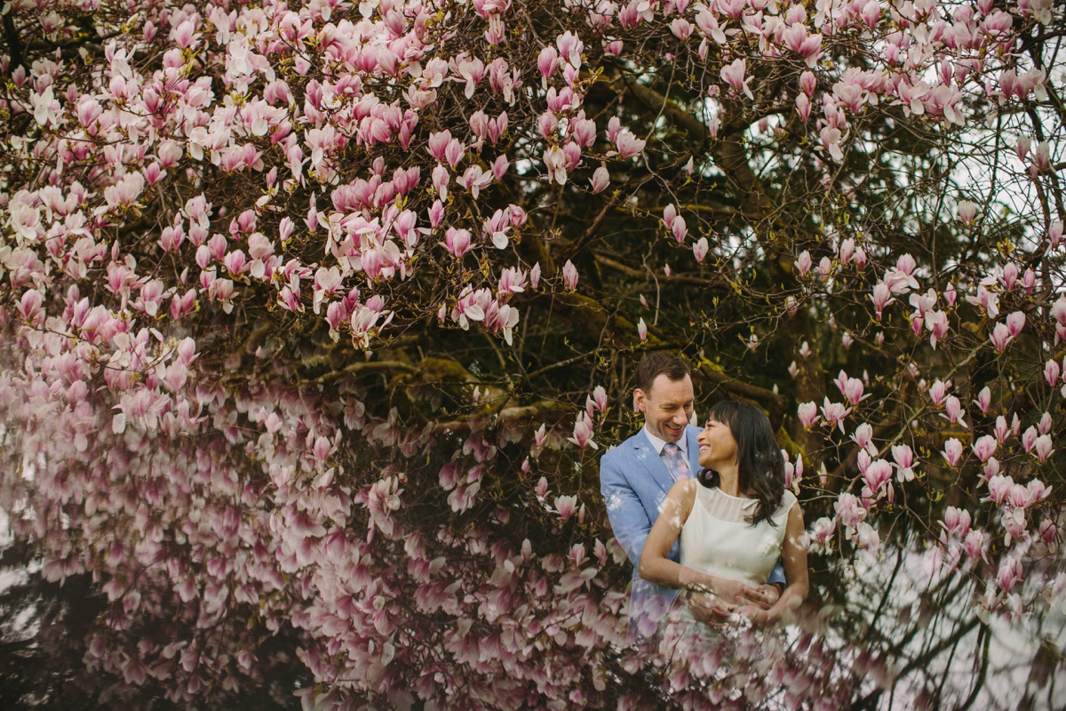 Stanley Park Engagement Session with Cherry Blossoms